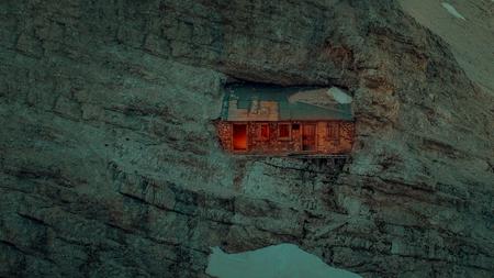 Fantasy night scene of a italian military shelter in Dolomites mountains. Monte Cristallo, Dolomites, Italy. Reklamní fotografie