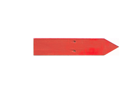 Isolated red wooden sign on white background.