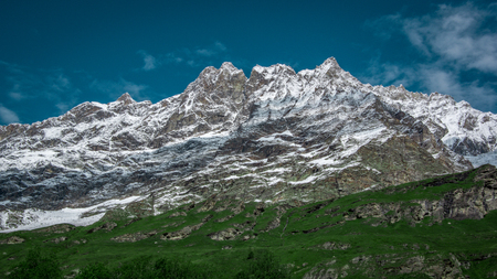 Landscape view of beautiful mountains landscape in Valle dAosta.Summer in the Pennine Alps, Valle dAosta, Italy, Europe.