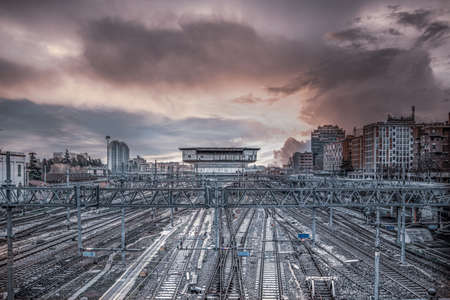Panorama of main train station in city of Bologna, Emilia-Romagna, Italy