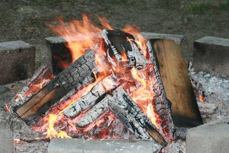 Blazing Camp Fire Фото со стока