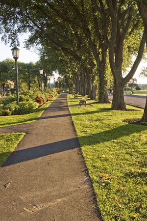 A pathway near the Palins of Abraham in Quebec City Stock Photo
