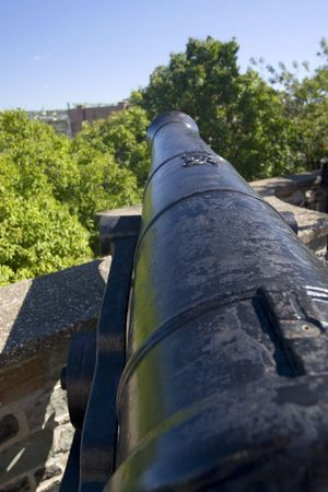 Old cast iron cannons on the ramparts of old quebec city canada Stock Photo