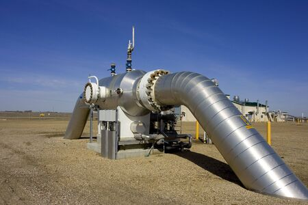 work station: Piping in a gas compressor station Stock Photo