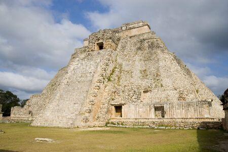 The Magicians Pyramid at Uxmal Yucatan Peninsula Mexico Stock Photo