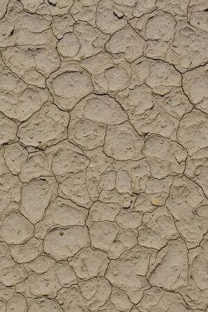 Pattern of cracked mud left in a dry lake bed after the water has evaporated. Vertical shot. Stock Photo