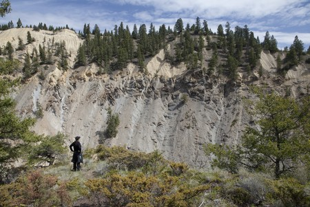 A woman is standing at the edge of a cliff, looking out across a canyon. Horizontal shot. Stock Photo - 6987167