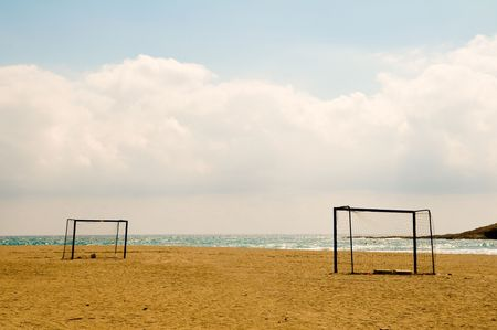 Beach football in Spain. Stock Photo - 4043060