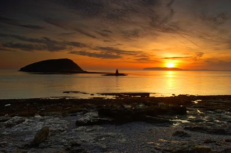 This sunrise image was captured in September at Anglesey, North Wales, UK. Stock Photo