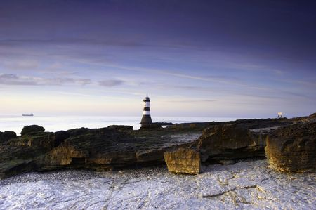 A lighthouse of the coast of Wales, UK.