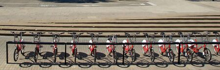 One of the many bicycle stands to be found in the Spanish city of Barcelona.
