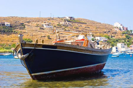 captured: A small Greek fishing boat captured on the Island of Kea.
