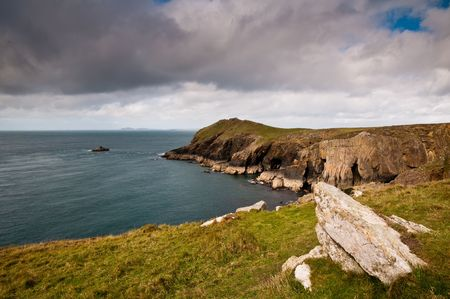 The rugged scenery of Martins Haven, Pembrokeshire, West Wales. Stock Photo