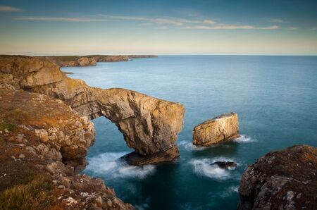 The Green Bridge of Wales. A Natural arch on the Pembrokeshire Coast.