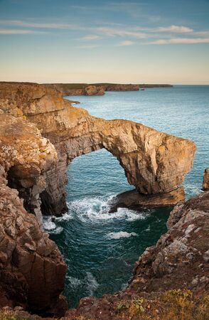 The Green Bridge of Wales is a spectacular natural arch, which has been carved by the sea into the cliffs of the Pembrokeshire coast.