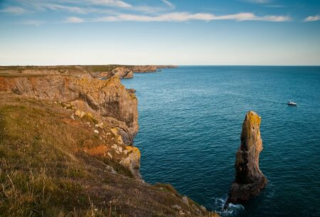 Elegug Stacks, St Govans Head, Pembrokeshire. A truly spectacular view of Wales, UK. Stock Photo