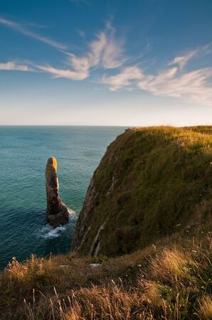 The rock stacks at Stackpole Pembrokeshire are a dominant feature of the coastline.