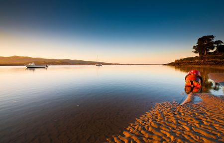 Sunrise over the estuary at Borth-Y-Gest, Wales, UK.