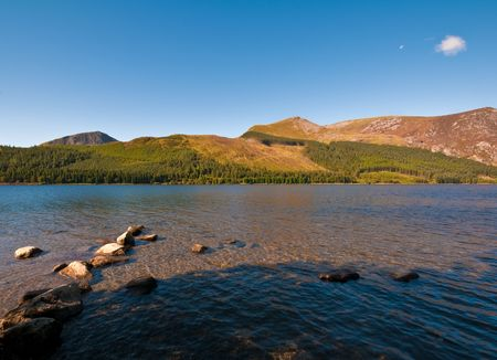 One of the many lakes that can be found in Snowdonia National Park, Wales, UK. Stock Photo