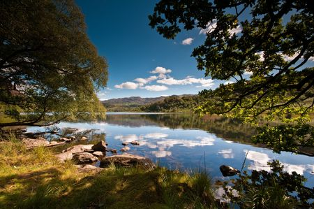 The stunning Llyn Dinas in Snowdonia National Park, Wales. Stock Photo