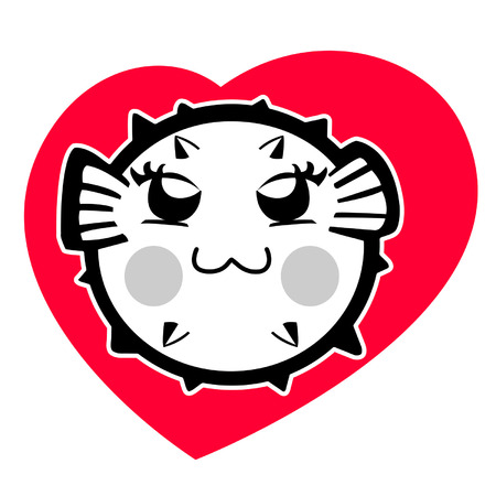puffer: cute puffer in heart cartoon
