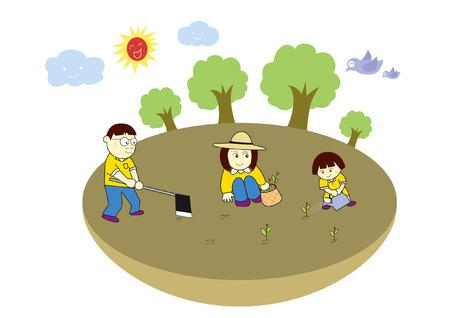 bag of soil: Family plant trees cartoon