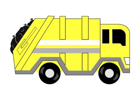 entrada da garagem: amarelo de lixo dos desenhos animados lateral do caminh