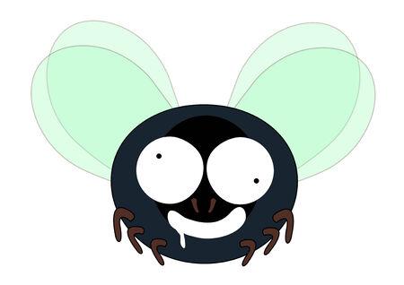 dizzy hungry mad fly cartoon