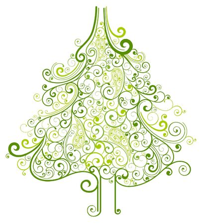 abstract floral Christmas tree