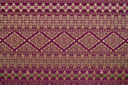 thai silk: Handmade Thai silk fabric with Thai design Stock Photo