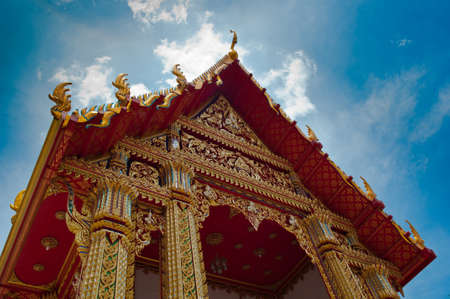Beautiful ancient thai temple in bangkok photo