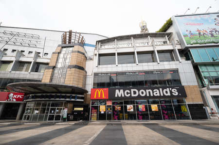 Pinklao, Bangkok/Thailand - April 7, 2020: McDonald's and KFC still in service but take home only during COVID-19 outbreak in Bangkok Thailand.