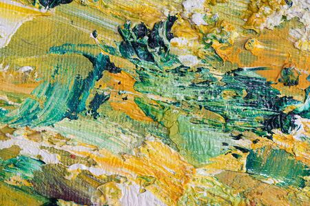 Close up surface of bright and vivid color oil painting with dabbing technique