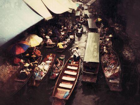 damnoen saduak: Floating market, Thailand, Damnoen Saduak Floating Market in Ratchaburi, Thailand, is a famous tourist attraction.