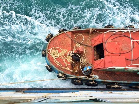 Tugboat: Tugboat at the sea Stock Photo