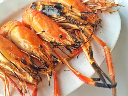 thai food: Grilled prawns, seafood, Thai food