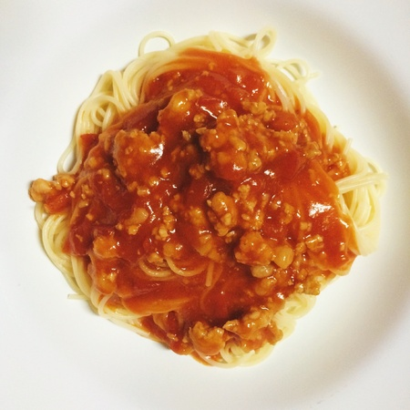 tomato sauce: Spaghetti with tomato sauce Stock Photo