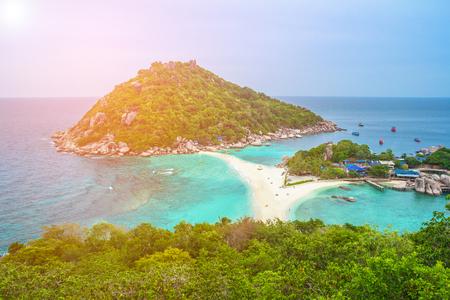 Koh Nangyuan, Surat Thani, ThailandNang Yuan Island, Koh Tao, ThailandKoh Nang Yuan is made up of three little teardrops of land connected by a massive sandbar Stock Photo
