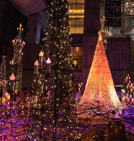 TOKYO, JAPAN - NOV 25: Illumination of the Christmas & New Year light at Shiodome in the theme of Beauty of the Beast on NOV 25, 2017, Tokyo Japan