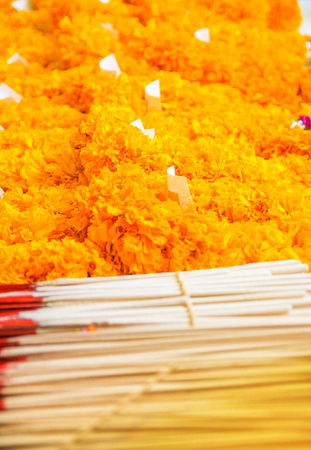 The incense, candle and marigold for worship the Buddha imagestatue sell at the temple.