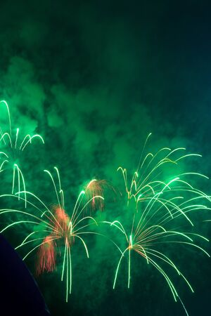 Colorful fireworks light up to the sky with Christmas & New Year Festival, Thailand Beautiful firework for New Year Celebration.