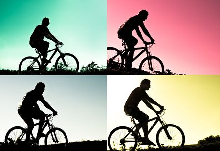 silhouette of bikers photo
