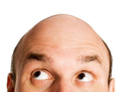 bald men: bald head looking up isolated