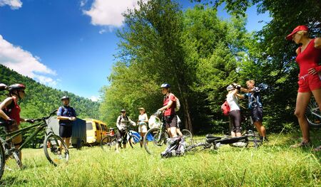 Groups of bicyclists in camp