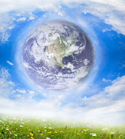 earth globe with white clouds Stock Photo - 4820023