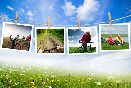 pictures with bikers on a clothes line Stock Photo - 5159770
