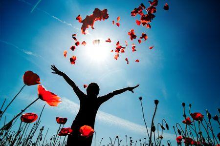 poppy field: Meisje staat in papaverbolkaf veld
