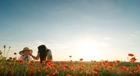 poppy field: moeder en zoon in papaverbolkaf veld Stockfoto