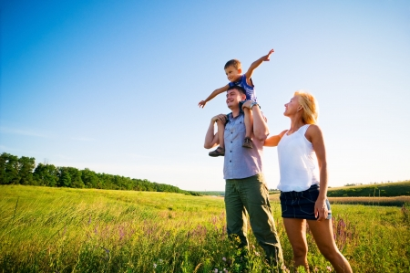 happy family having fun outdoors  photo