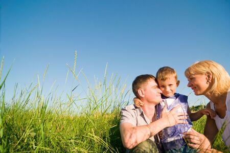 happy family having fun outdoors Stock Photo - 5159773
